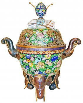 MONUMENTAL CLOISONNE INCENSE BURNER, ELEPHANT HANDLES