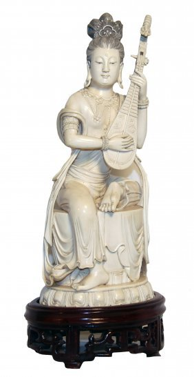 FINE CARVED IVORY COURT MUSICIAN WITH LUTE, CHINESE