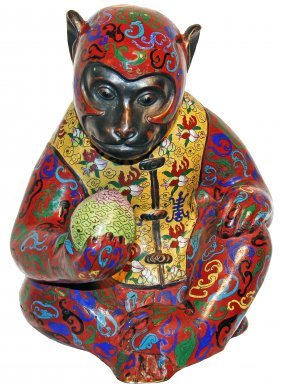 CLOISONNE SEATED MONKEY CONTEMPLATING A PEACH, CHINESE