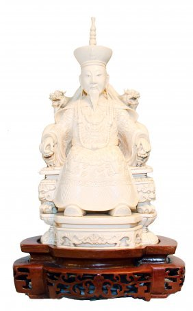 PAIR IVORY EMPEROR & EMPRESS DRAGON THRONES, CHINESE