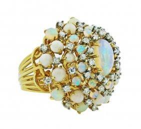 18 Karat Gold, Opal And Diamond Ring