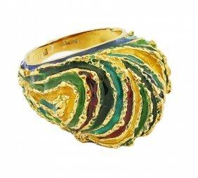 18 Karat Gold And Enamel Ring