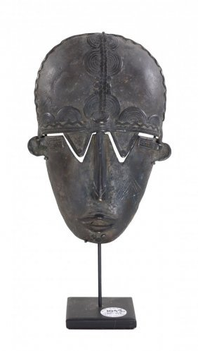 Female Ancestral Ceremonial Dance Mask , Lost Wax Cast