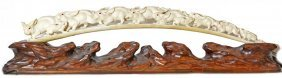 Fine Carved Ivory Tusk Of Rabbits