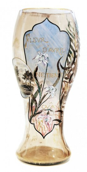 Emille Galle (1846-1904) Very Fine Early Enameled Vase