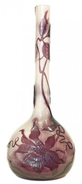 Emille Galle (1846-1904) Fire Polished Cameo Glass Vase