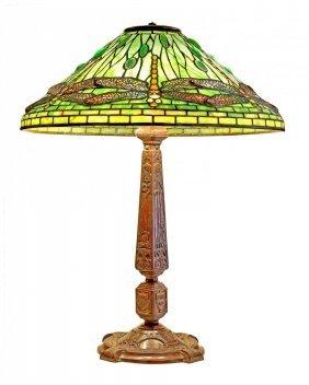 """Tiffany Studios (1899-1920) """"jeweled Dragonfly"""" Lamp"""