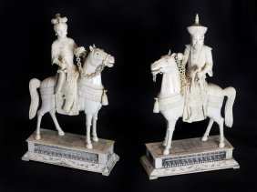 Pair Of Ivory Emperor And Empress On Horseback