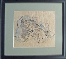 Jules Pacin (France 1885-1930) Ink, Wash, Paper