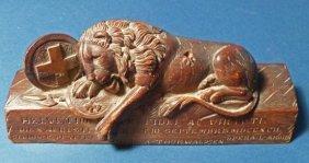Black Forest Carved Walnut Lion Of Lucern