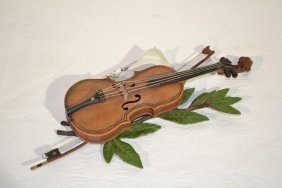"COLD PAINTED VIENNA BRONZE VIOLIN - 9"" X 4 1/2"""