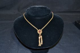 14kt CABACHON RUBY NECKLACE WITH TASSLES