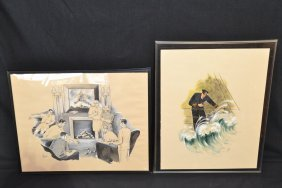 (2) NAVAL OFFICER ILLUSTRATIONS SIGNED HEE