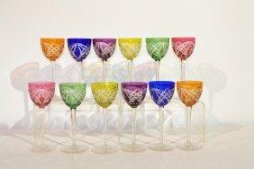 (12) CUT TO CLEAR CRYSTAL RHINEWINE GLASSES
