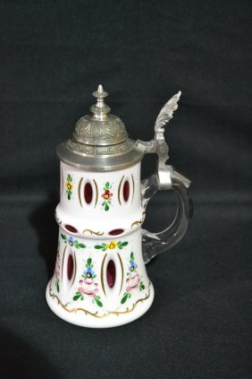 BOHEMIAN CRANBERRY CASED GLASS STEIN WITH