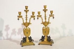19thC FRENCH DORE BRONZE JEWELED CANDELABRAS