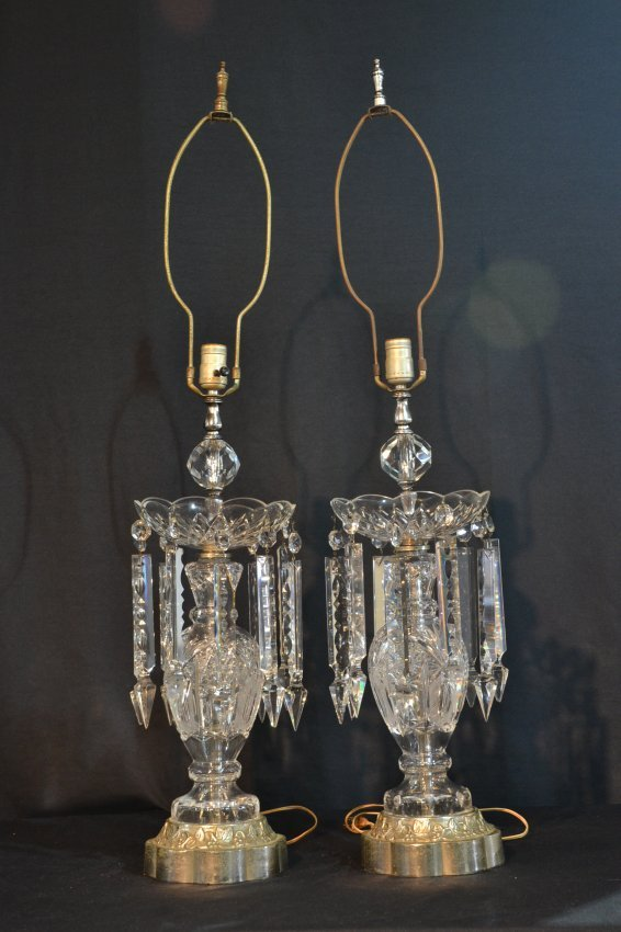 pr crystal lustre lamps with long crystal lot 270. Black Bedroom Furniture Sets. Home Design Ideas