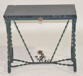 WROUGHT IRON MARBLE TOP STAND WITH FLOWERS