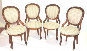 (4) WALNUT FINGER ROLL SIDE CHAIRS