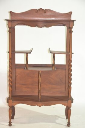 "WALNUT ETAGERE (MISSING MIRROR) 27"" X 13"" X 44 1/2"