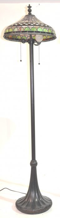 "LEADED GLASS FLOOR LAMP - 16"" X 62"""