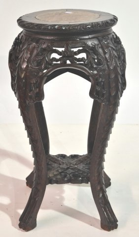 CHINESE TEAK MARBLE TOP STAND (MISSING CARVING)