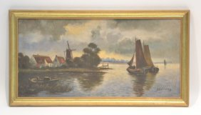 Oil On Canvas Coastal Scene Signed Sovadoff