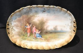 Hand Painted M.r. Limoges Platter With Cherubs