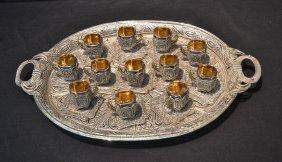 Persian Silver Filigree Tea Set Consisting Of