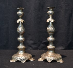 (pr) 19thc Russian Sterling Silver Candlesticks