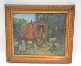 Oil On Board Of Figures With Stagecoach