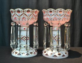 (pr) Large Bohemian Pink Cased Glass Lustres