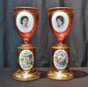 (pr) Ruby Bohemian Vases With Female Portrait