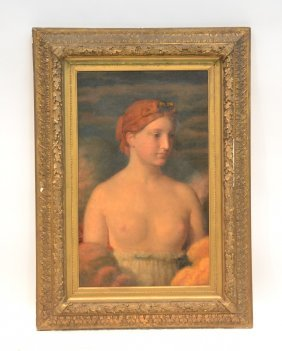 19thc Oil On Canvas Portrait Of Semi Nude Woman