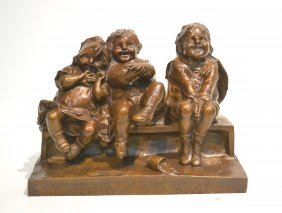 Bronze Grouping Of 3 Children Laughing On Bench