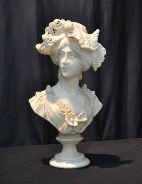 Alabaster Bust Of Young Lady With Hat