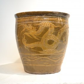 Large Chinese Fish Bowl With Dragons
