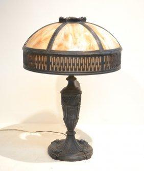"""6-panel Slag Glass Table Lamp - 16"""" X 8"""" X 22"""""""
