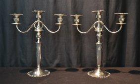 (pr) Towle Sterling Silver Triple Candlesticks