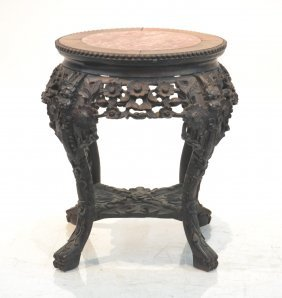 Carved Chinese Marble Top Taboret Stand