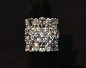 18kt White Gold Multi Color Sapphire Ring