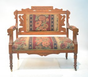 Carved Victorian Upholstered Settee