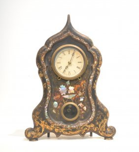 Iron Mantle Clock With Inlaid Mother Of Pearl