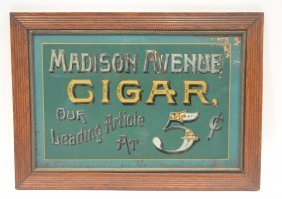 Reverse Painted Madison Ave 5 Cent Cigar