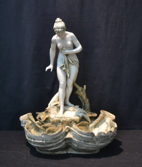 Nouveau Templitz Amphora Nude Atop Double Shell