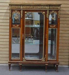 Beveled Glass Vitrine Cabinet With Bronze Roses
