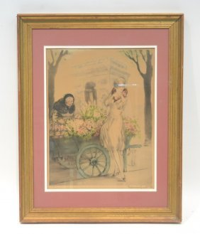 "Louis Icart ""marchande De Fleurs"" Etching Of"
