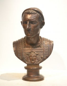 Large Bronze Bust Of Julius Ceasar