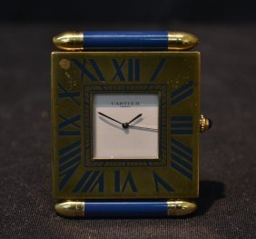 Deco Style Cartier Bronze & Lapis Travel Clock