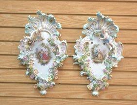 (pr) 19thc Meissen Porcelain Sconces With